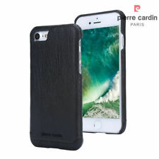 For Apple iPhone 8 7 PIERRE CARDIN Black Genuine Leather Cover Hard Back Case