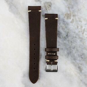 Vintage Style Calfskin Leather Watch Strap - Dark Brown - 20mm/22mm