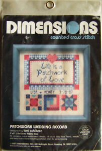 "Dimensions ""PATCHWORK WEDDING RECORD"" Cross Stitch Kit #6511 - New, Sealed"