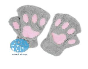 New Fluffy Bear Cat Plush Paw Claw Role Playing  Mittens Glove