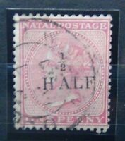 Natal 1877 1/2d on 1d Rose Fine Used