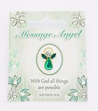 "MESSAGE ANGEL - SWAROVSKI CRYSTAL PIN - ""WITH GOD ALL THINGS ARE POSSIBLE"""