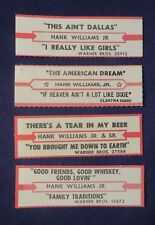 Lot of 4 Jukebox Tags 45 Rpm Title Strips Hank Williams Jr