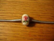 KAY JEWELERS CHARMED MEMORIES RED FLOWERS ON WHITE MURANO BEAD STERLING SILVER