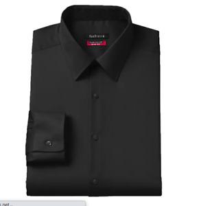 Van Heusen Men's Dress Shirt Slim Fit Flex Collar Stretch Black Size 16.5 32/3