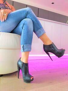 Gianmarco Lorenzi High Heel Stiletto Leder Stiefel Boots Peeptoe Stiefeletten