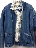 Sergio Valente Vintage 80s Women's Blue Denim Jacket Paisley Quilted Lining Sz L