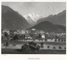 INTERLAKEN sehr schöne Ansicht Aquatinta um 1860 - ORIGINAL!!