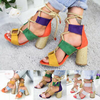 US Women Ankle Strap Block Heel Sandals Ladies Strappy Hemp Rope Lace Shoes Size