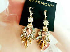 Givenchy Gold Tone Multi Crystal Drop Earrings