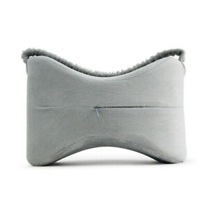 Knee Pillow for Side Sleepers Memory Foam Leg Support Cushion W/Strap Gray OK