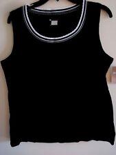 ec99277ed22c34 Ladies White Stag Scallop Neck Black Tank Top Knit Size 2x (20)