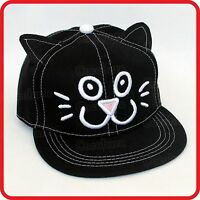 KIDS CHILDRENS BOYS GIRLS CUTE CAT KITTEN MEOW BASEBALL CAP HAT-DRESS-UP-COSTUME