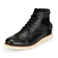 Bruno Marc Men's Motorcycle Combat Boots Lace Up Inside Zipper Chukka Boots US