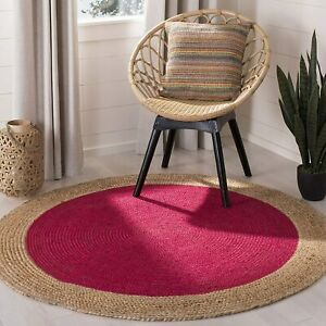 red color circular jute area floor rugs Indien traditional hand stitched 7x7-67