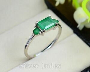 Zambian Emerald Natural Gemstone 925 Sterling Silver Engagement Ring For Women