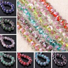 10Pcs Faceted Lampwork Glass Charms Loose Spacer Bead Rose Flower Finding 12x8mm