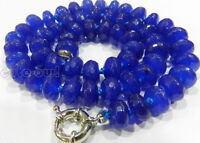 """5x8mm Faceted Blue Sapphire Gemstone Roundel Beads Necklace 18""""AAA+"""