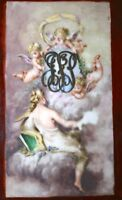 antique 1884 MecGollam figural porcelain sterling silver angel tile painting NY
