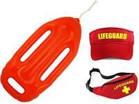 Lifeguard Accessory Pack - Fancy Dress Beach Costume Outfit Float Visor Belt Bag
