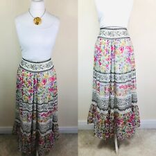 Ladies Monsoon Floral Pink White Maxi Skirt Size 12 Boho Hippy Casual Lace Trim