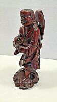 "Extraordinary Hand Carved Wood Figurine Statue Man~ ""Fish""~ Asian""Chinese""~7.25"""