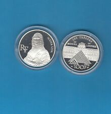 200 ans du Louvre 100 Francs en argent 1993 Mona Lisa Joconde Léonard de Vinci