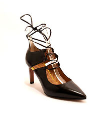 Mary Claud 7013 Black / Yellow / Brown Leather Pointy Heels 38.5 / US 8.5