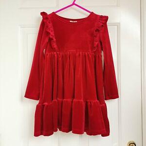 F&F Girls Red Velvet Tiered Dress Size 4-5 Christmas