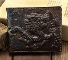 Vintage Dragon Genuine Leather Bifold slim Card Holder Money Clip Wallet Purse