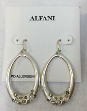 Earrings Oval Hoops Crystal Rhinestones Silver Tone Metal Alfani Hypo Allergenic