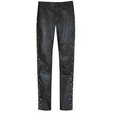 RRL RALPH LAUREN $1500 leather skinny double RL slim studded cowhide pants 25