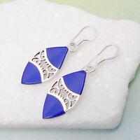 Lapislazuli blau blue Indianer Design Ohrringe Ohrhänger 925 Sterling Silber neu