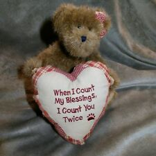 "Boyds ""COUNT MY BLESSINGS"" TEDDY BEAR W/ HEART 8"" Plush STUFFED ANIMAL"