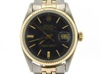 Rolex Datejust Mens 2Tone 14K Gold Stainless Steel Oval Jubilee Black Dial 1601