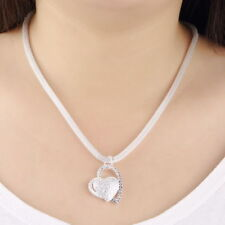 New Fashion 925 Silver Charm Heart Pendant Beautiful women Necklace with Chain