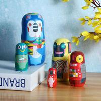 5Pcs Vintage Christmas Handmade Animals Russian Nesting Wooden Dolls
