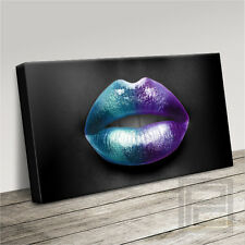 LIPS GLOSS KISSES COLOURFUL MODERN FASHION CANVAS ART PRINT PICTURE Art Williams
