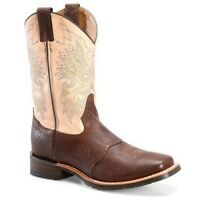 Double-H Men's  Wide Square Brown & Cream Work Western Boots DH3613