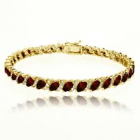 Garnet Tennis Bracelet with White Topaz Accents in Gold Plated Sterling Silver