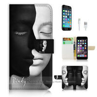 ( For iPhone 7 ) Wallet Case Cover P1604 Black White Face