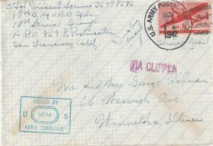 1942 USA fieldpost cover sent from 17BHQ AB Sqdr San Francisco to Winnetka ILL