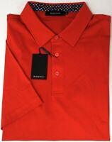 NEW $95 Bugatchi Short Sleeve Polo Shirt Mens Ruby Red Mercerized Cotton NWT