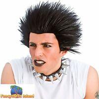 Black Punk Short Spiky Rocker Emo Goth Wig Adults Mens Fancy Dress Costume