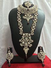 Indian Bollywood Fashion Ethnic Wedding Bridal Gold Tone 8 PCS Jewelry Set