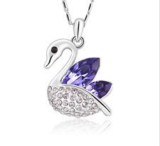 Fashion Womens Swan Purple Crystal Rhinestone Silver Chain Pendant Necklace ——