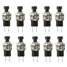10 Stück Miniatur Drucktaster 250V 0.5A ON/OFF SPST 2 Kontakte Schwarz 2 pins