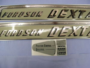 FORDSON DEXTA DECALs 4 pieces  Bonnet & Hydraulics. Proper style and colour