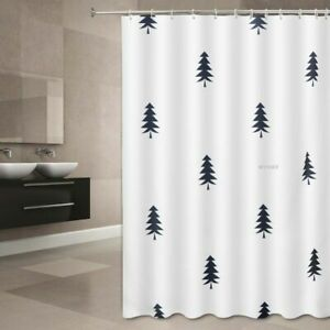 BATHROOM SHOWER CURTAIN WITH HOOK RING 100% POLYESTER WATERPROOF Fir Tree Design