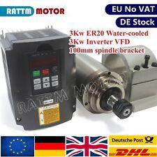 DE:3KW 220V Water Cooling Spindle Motor ER20 &3KW HY VFD Inverter &100mm Bracket